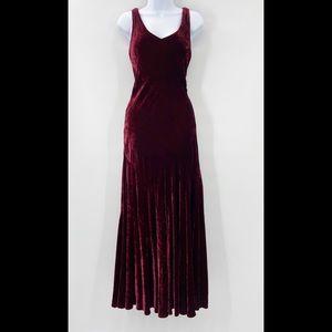 Vintage Long Burgundy Red Wine Velvet Dress 10